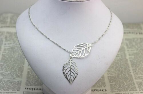 Silver Plated Chain Necklace Leaf COLLANA CON FOGLIE