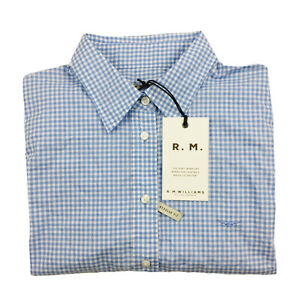 RM Williams Womens Nicole Short Sleeve Button Up Check Shirt Blue White Size 14