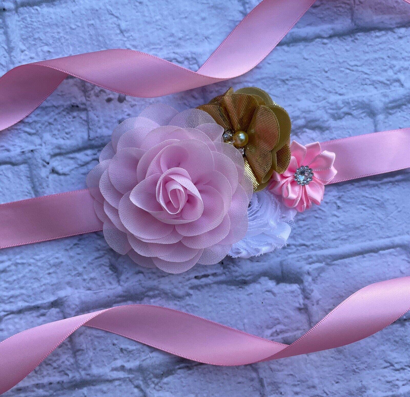 Pink Gold White Flower Girl Sash Belt ,Toddler Floral Sash, Bridesmaid Sash