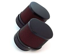 Set of 2 Black & Red Oval Air Filters - 50mm - Honda CB350 CB360 CB450 CB500T