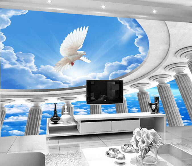3D Heaven Pigeon Sky 698 Wall Paper Wall Print Decal Deco Indoor Wall Mural CA