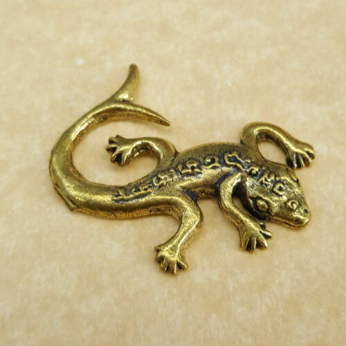 GOLD LIZARD 2 CURVE TAIL Talisman Thai Amulet Brass Holy Magic Wealth RICH LUCKY