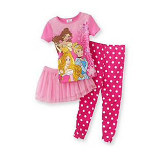 NWT NEW GIRLS 3PC DISNEY PRINCESS Polka-Dot Tutu PAJAMAS SET 2T