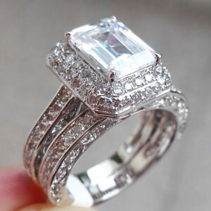 Image Is Loading Por White Gold Plated Jewelry Wedding Engagement Ring