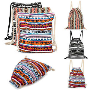 Canvas-Drawstring-Bag-Shoulder-Backpack-Rucksack-School-Sport-Casual-Duffle-Bags