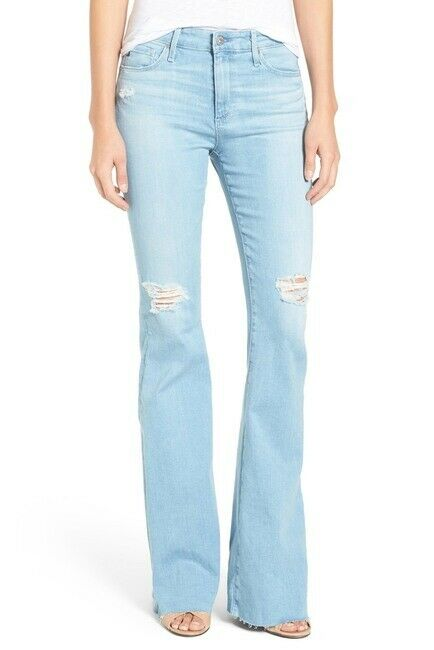 AG Adriano goldschmied Janis High-Rise Flare Jeans Distressed Raw Hem - Size 28R