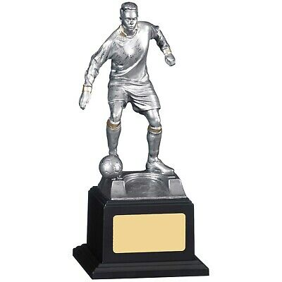 Argent//bleu joueur de football Coupe trophées Awards 2 Tailles Gravure Gratuite