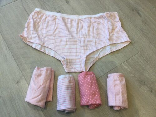 BNWT Girls 5 X Pairs Briefs Pants Short Style Knickers Cotton Age 13-14 Pink
