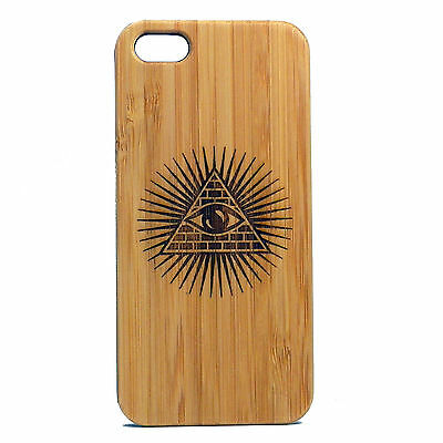 Illuminati Case for iPhone 5 5S SE Bamboo Wood Cover Skin All Seeing Eye Pyramid