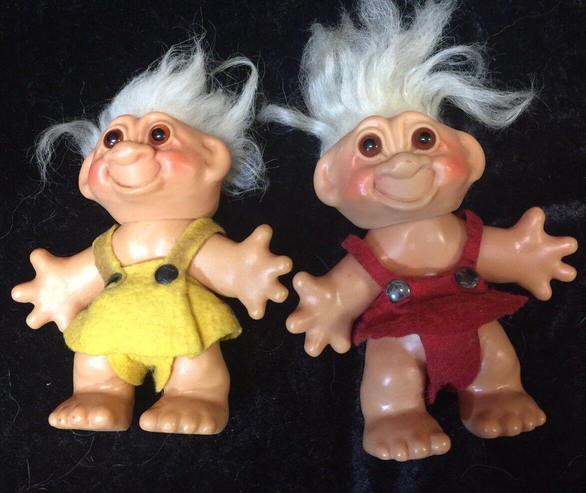 1960S Thomas Dam trolls Original Mohair ámbar ojos Dinamarca envolturas de fieltro