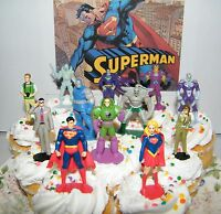 Superman Cake Toppers Set Of 13 With Super Girl, Jimmy Olsen, Doomsday More