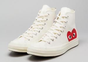 Details about Converse x Comme Des Garcons PLAY Chuck Taylor 70 Hi  White/Beige Mens Shoes