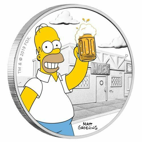 Homer 2019 1oz Silver Proof Coin Perth Mint The Simpsons