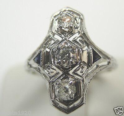 Antique European Diamond Engagement Ring Size 6 18K White Gold EGL USA Art Deco