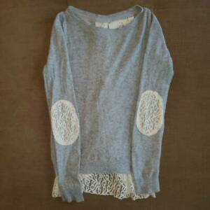 Anthropologie-Angel-Of-The-North-Womens-Sweater-Gray-Heathered-Lace-Elbow-Trim-S