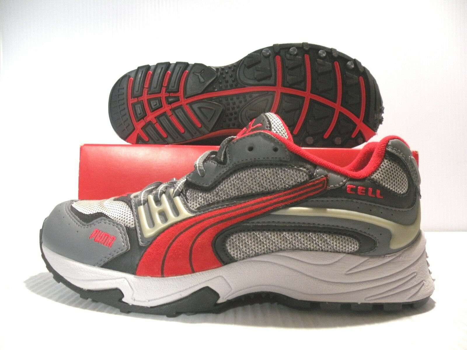 PUMA XC EXT CELL LOW SNEAKERS VINTAGE MEN SHOES GRAY/RED 181193-02 SIZE 6 NEW