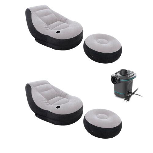120V Air Pump 2 Pack Intex Ultra Lounge Chair 2// Cup Holder /& Ottoman Set