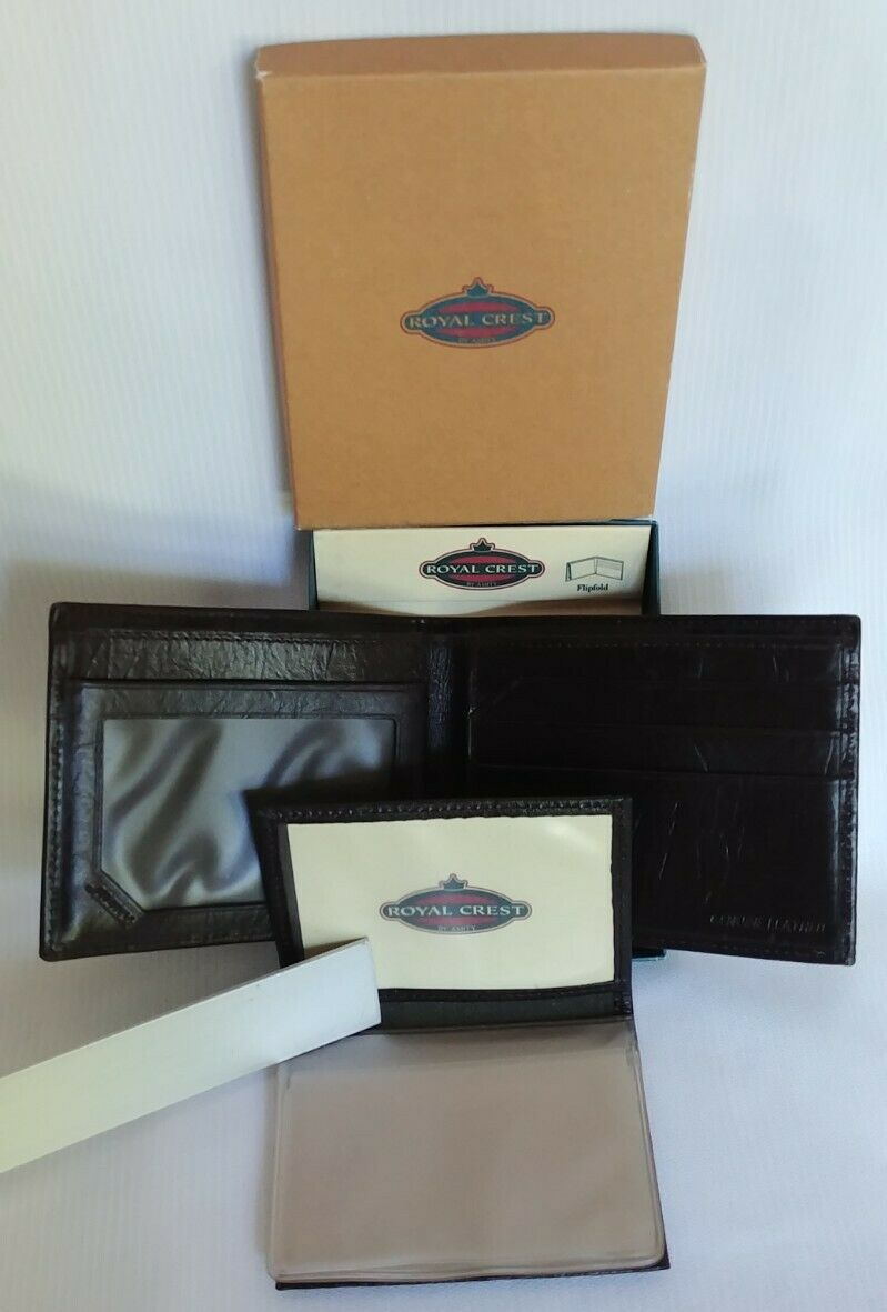 NEW Royal Crest by Amity Flipfold Men's Wallet Brown Genuine Leather 4.5