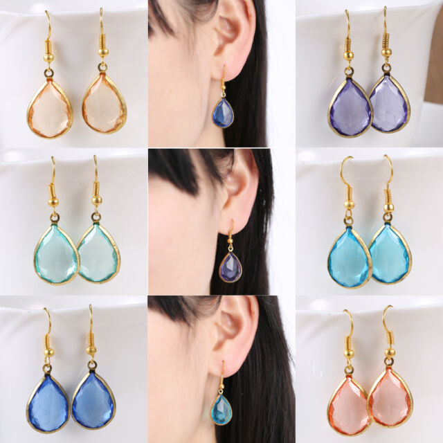 Elegant Crystal Dangle Water Drop Earrings Clear Color Genuine Jewelry Party New