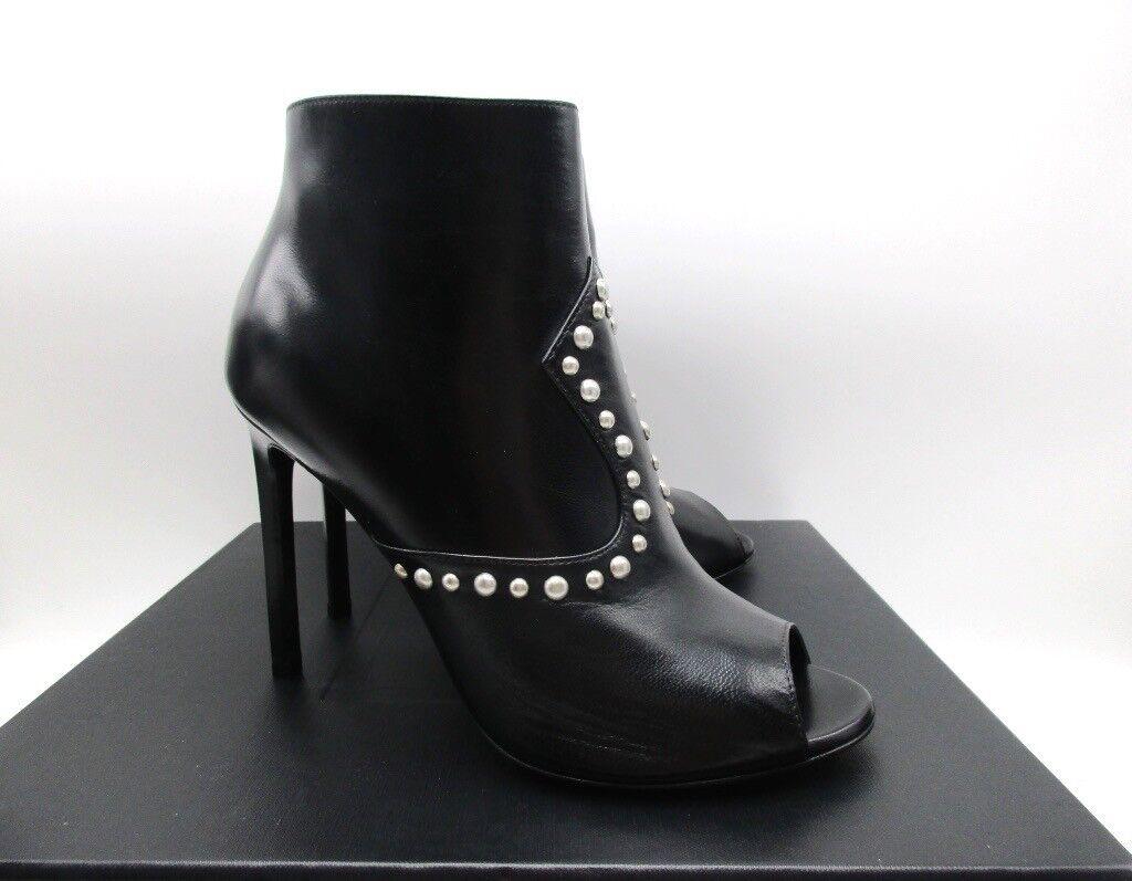 Saint Laurent Black Jane 105 Peep Toe Ankle Studded Boots Booties 36.5 6.5