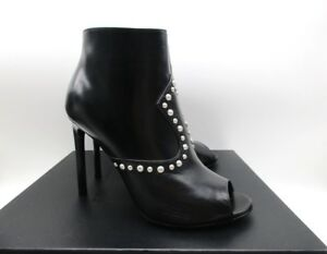 98cad5ce518 Saint Laurent Black Jane 105 Peep Toe Ankle Studded Boots Booties ...