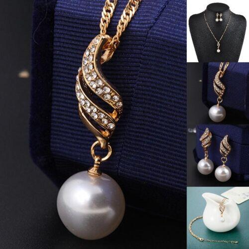 Mode Schmuckset Strass Perle Collier Ohrringe Halskette  Hochzeit Braut Sch G7I4