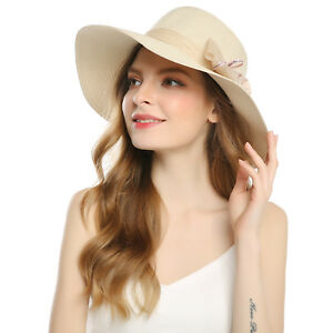 a0057047 Details about Foldable Straw Summer Sun Hats Wide Brim Flower Hats Beach  for Women