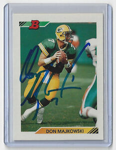 1992-PACKERS-Don-Majkowski-signed-card-Bowman-206-AUTO-Autographed-Green-Bay