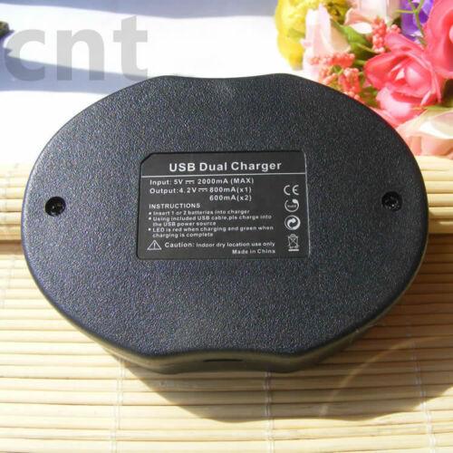 Cargador Usb Doble 2x Li-Ion Batería D-LI92 para PENTAX Optio I-10 Megazoom X70