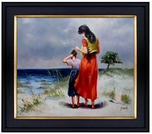 Framed-Quality-Hand-Painted-Oil-Painting-Beach-Strolling-20x24in