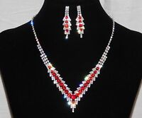 Silver With Clear Rhinestone & Red Ruby Bridal Necklace, Earrings Set /13354