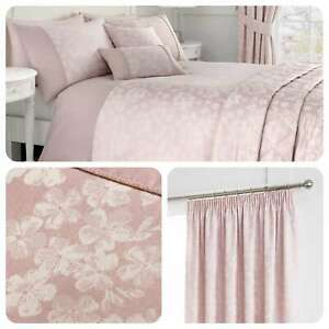 Serene-BLOSSOM-Pink-Floral-Jacquard-Matching-Bedding-Curtains-amp-Cushions