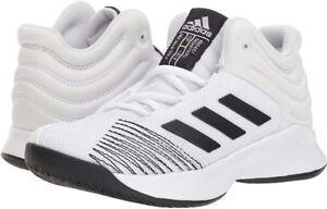Adidas Pro Spark 2018 Mens 6 Womens 7 White Black Basketball Shoes ... 3c2c5da8d7