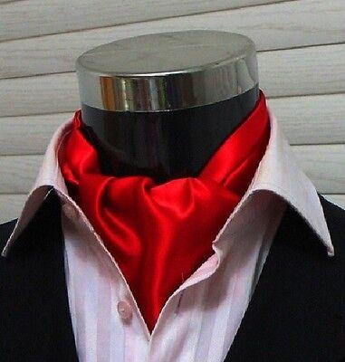 Men Wedding Formal Cravat Ascot Scrunch Ruche Self Neck Tie Solid Red