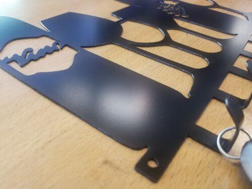 Wine Glass Bottle Key Fob Chain Holder Metal Wall Art Plasma Cut Home Decor Gift