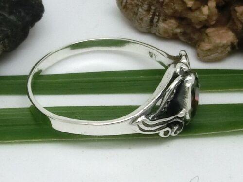 Jugendstil Design 925 real plata anillo circonita rojo señora anillo de piedra