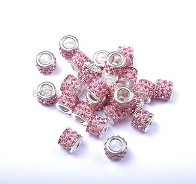 10Pcs Big Hole TUBE SHAPES Czech Crystal Rhinestone Fit European Charms Beads