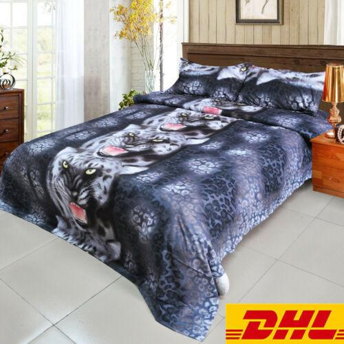 4pcs 3D Printed Bedding Set Bedclothes Black Tiger Queen Size Bed Sheet A7X3
