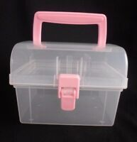 Storage Case Crafts Jewelry Make Up Organizer Small Clear 1 Removable Tray Pink
