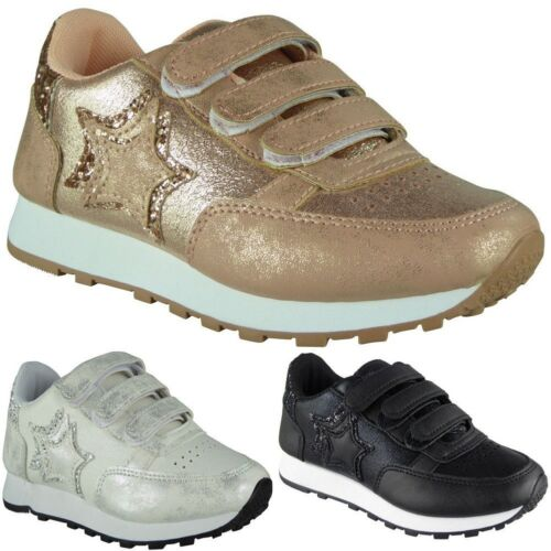 Kids Girls Running Trainers Childrens Glitter Sports Comfy Strappy Shoes Size