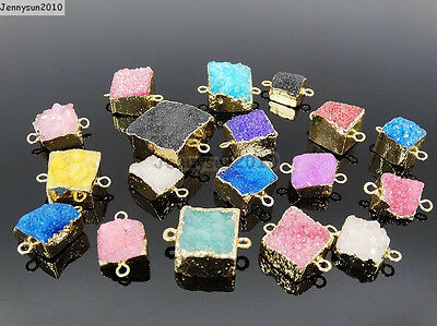 Natural Druzy Quartz Agate Square Cube Bracelet Necklace Connector Charm Beads