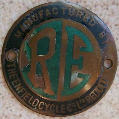 Royal Enfield Original Vintage enamel and Bronze Emblem 50 mm. in diameter