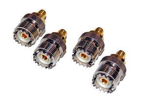 4-Lot-4X-Gold-Nickel-SMA-Female-Jack-to-UHF-SO-239-Female-Jack-Ham-Radio-Adapter