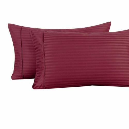 100/% Cotton Pillowcases Pair Standard Or King Damask Striped Pillowcase Set