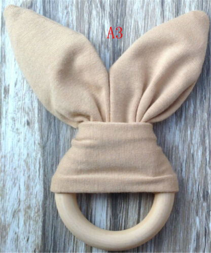 Safety Wooden Natural Baby Rabbit Teething Ring Teether Bunny  Babies Teether WD