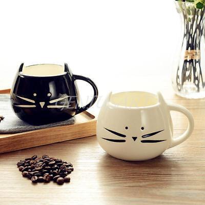 1Pair Cute Cat Coffee Milk Tea Drink Ceramic Mug Cup White/ Black Lover Kid Gift