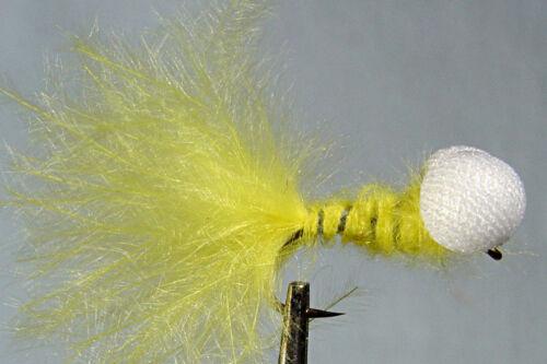 1 x Mouche de peche Streamer Booby Jaune H8//10//12 mosca yellow fly fishing