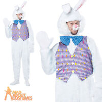Adult Deluxe Easter Bunny Costume Mens White Rabbit Fancy Dress Outfit