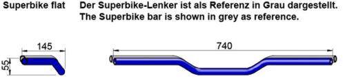 LSL Superbike FLAT manubrio piatto acciaio 22 mm in 2 colori 123ln01 tipo ln1