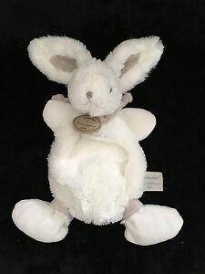 Doudou & Compagnie Mon tout petit Lapin Bonbon blanc et taupe DC2123 30 cm